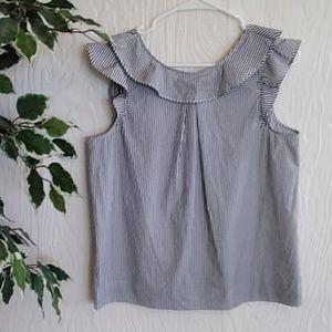 J. Crew striped ruffle sleeveless top shirt size 6